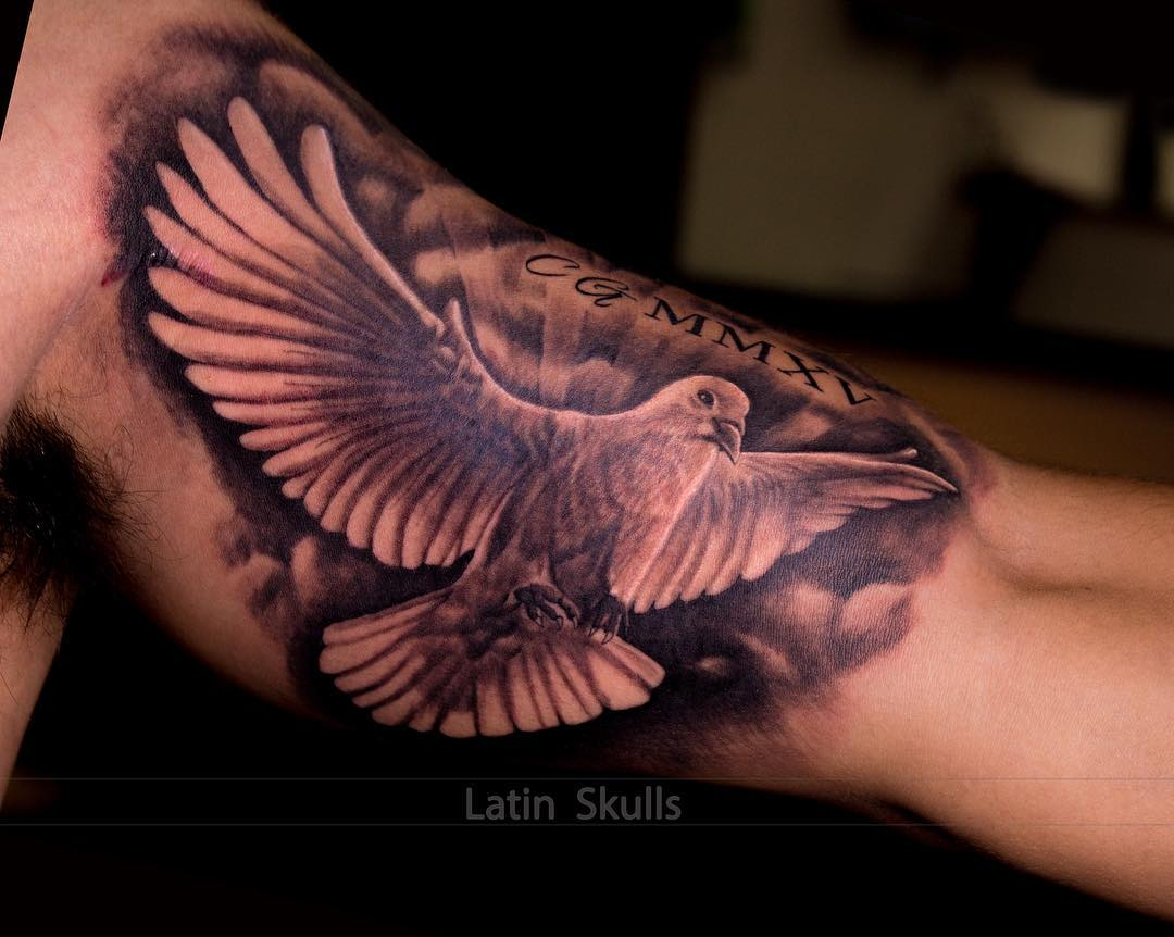 42510983f Big flying dove with wings wide tattoo is designed for others to admire  your strength and sweet character.
