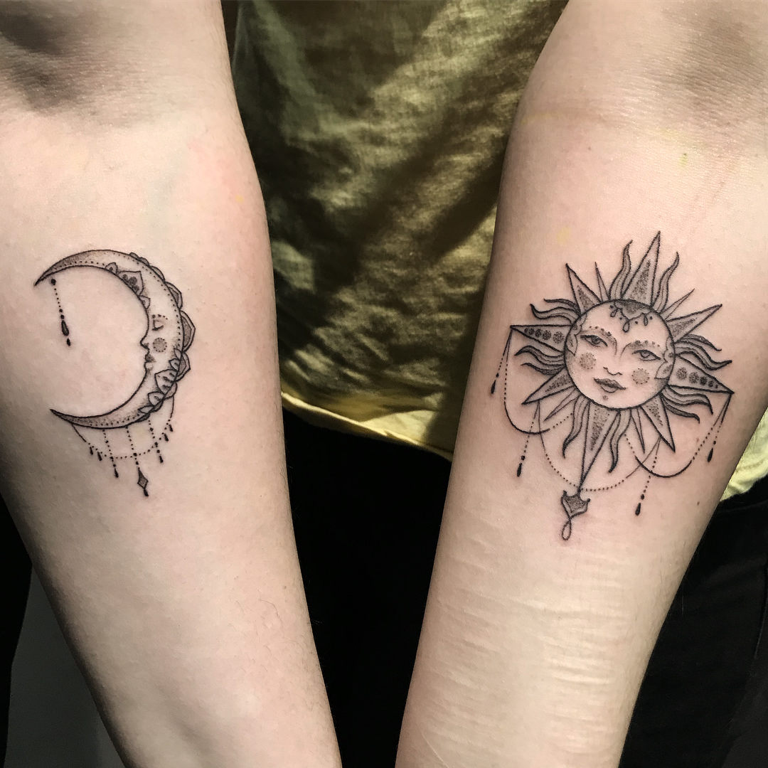 154 Outstanding Sun And Moon Tattoos With Meaning