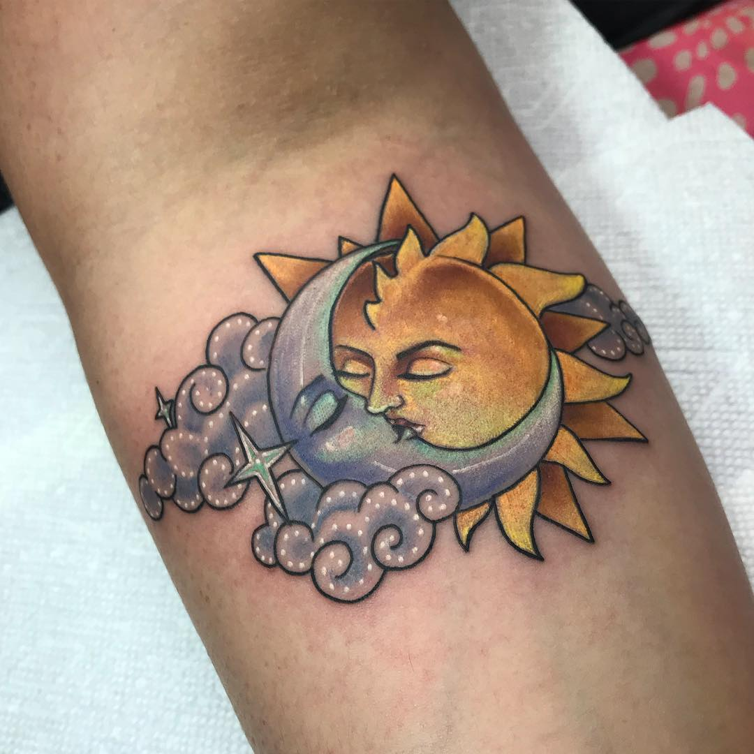 154 Outstanding Sun And Moon Tattoos With Meaning!